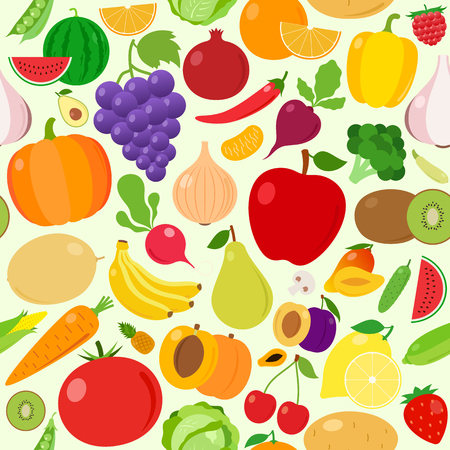 Vector fruits and vegetables seamless pattern or background. Fruits and vegetables design elements and icons for web, stores, package and advertising