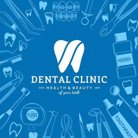 Vector dental clinic logo template and dental instrument icons.