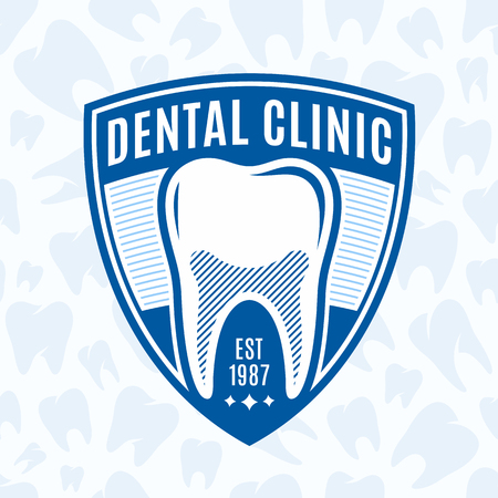 Vector dental clinic logo template on tooth icons background. Illustration