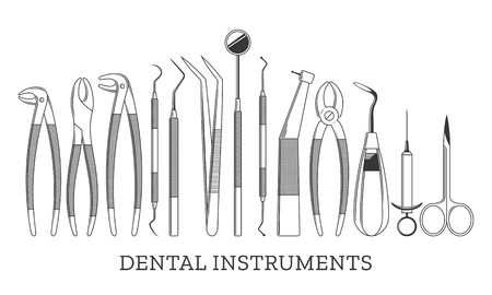 Set of vector dental instrument icons and design elements isolated on white.