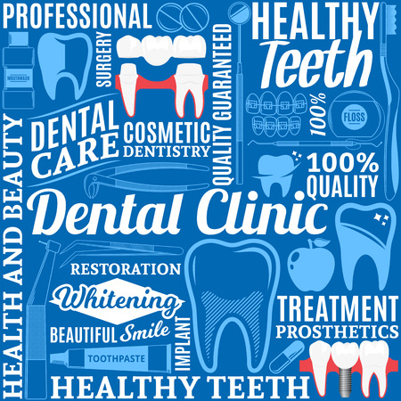 Typographic vector dental clinic seamless pattern or background. Tooth and medical instrument icons. Zdjęcie Seryjne - 95857316