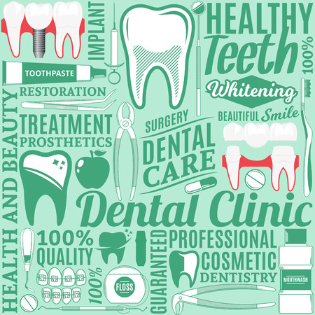 Typographic vector dental clinic seamless pattern or background. Tooth and medical instrument icons.