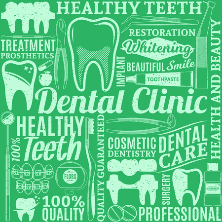 Typographic vector dental clinic seamless pattern or background. Tooth and medical instrument icons. Zdjęcie Seryjne - 95810592