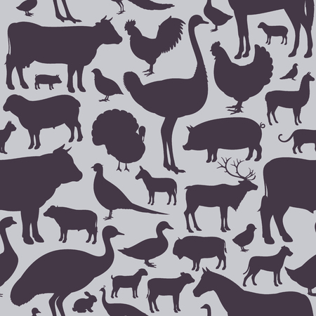 Farm animals vector seamless pattern or background, livestock and poultry icons.
