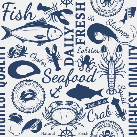 Vector seafood design elements, label templates, icons, background and seamless pattern.