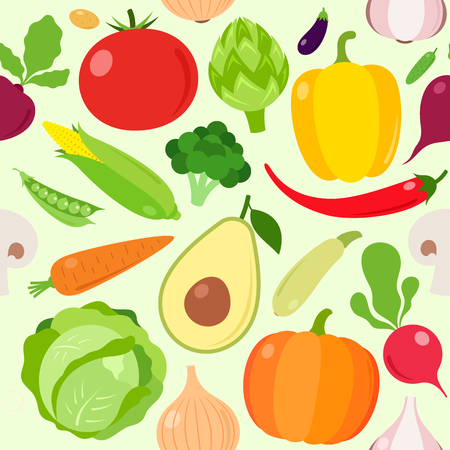 Vegetables vector seamless pattern or background, design elements and icons. Illustration