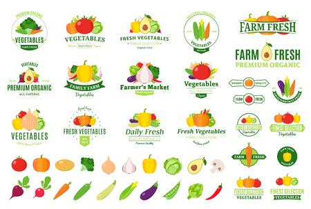 Vector vegetables label templates, badges, emblems, design elements and icons