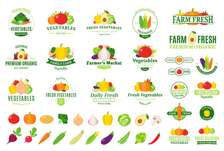 Vector vegetables label templates, badges, emblems, design elements and icons