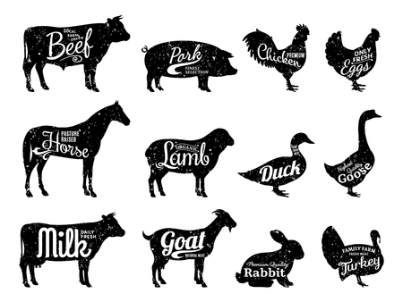 Set of butchery logo templates. Farm animals with sample text. Retro styled farm animals silhouettes collection for groceries, meat stores, packaging and advertising.