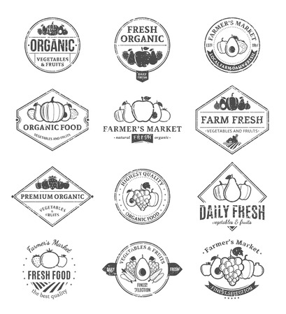 Set of retro styled fruit and vegetables logo templates. Fruit and vegetables labels with sample text. Stock Illustratie