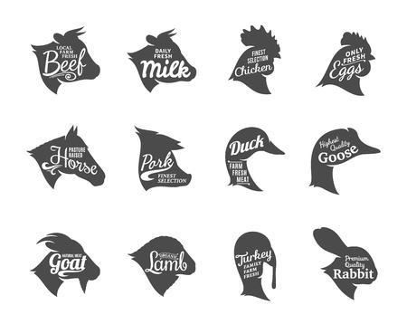 Set of butchery labels templates. Farm animals icons with sample text. 向量圖像
