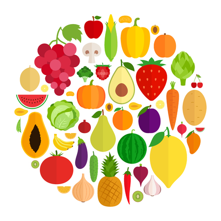 Vector collection of fresh vegetables and fruits flat icons. Illustration