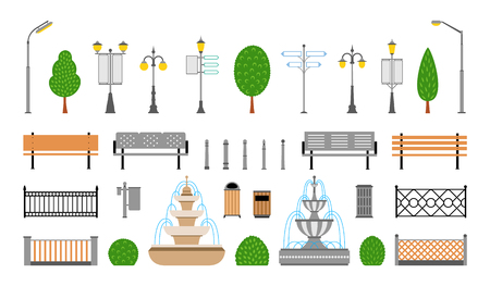 Vector city street urban elements icon set. Parks, alleys, streets and sidewalks decoration elements. Lights and outdoor elements for construction of city, park and outdoor landscapes.