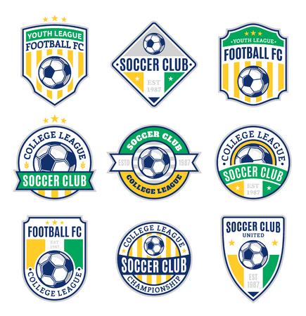 Satz Fußballfußballverein-Logoschablonen. Fußballfußballaufkleber mit Beispieltext. Fußball Fußball Symbole für Sportturniere und Organisationen. Identität der Sportmannschaft. Logo