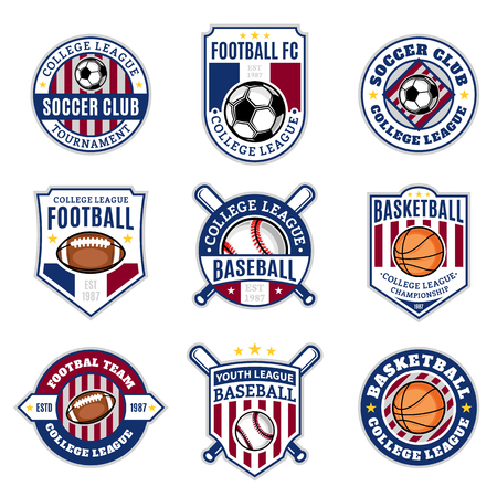Set of sport team logo templates. Soccer, football, baseball, basketball labels with sample text. Sport icons for sport tournaments, organizations and apparel. Sport team identity.
