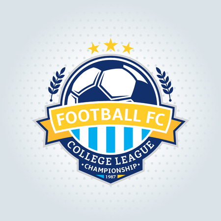 Soccer footbal club logo template. Soccer football label with sample text. Soccer football icon for sport tournaments and organizations. Sport team identity.