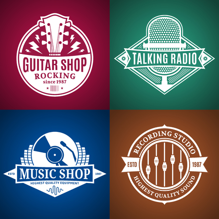 Set of vector music logo. Music studio, radio and shop labels with sample text. Music icons for audio store, recording studio label, podcast and radio station, branding and identity.