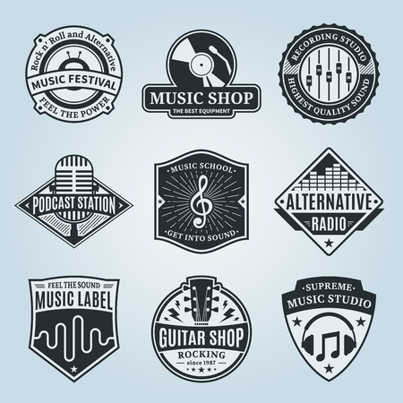 Set of vector music logo. Music studio, festival, radio, school and shop labels with sample text. Music icons for audio store, recording studio label, podcast and radio station, branding and identity. Vettoriali