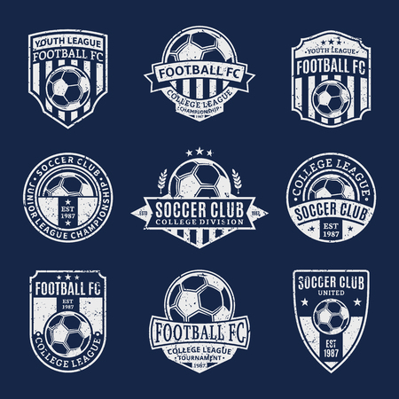 Set of retro styled soccer football club logo templates. Soccer football labels with sample text. Soccer Football icons for sport tournaments and organizations. Sport team identity. Illustration