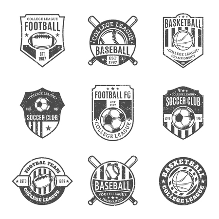 Set of retro styled sport team logo templates. Soccer, football, baseball, basketball labels with sample text. Sport icons for sport tournaments, organizations and apparel. Sport team identity.