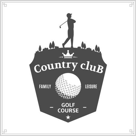 Golf country club logo template. Golf label with sample text. Golf icon for golf tournaments, organizations and golf country clubs. Vector logotype design.