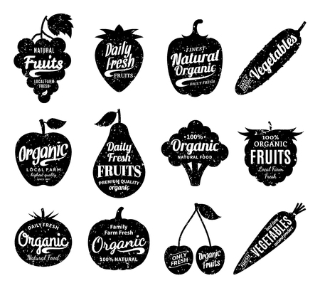 Vector fruit and vegetables logo. Fruit and vegetables silhouettes with lettering. Fruits and vegetables icons for groceries, agriculture stores, packaging and advertising. Vector labels design. 矢量图像