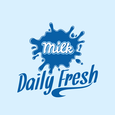 Milk logo template. Milk label with sample text. Milk icon for groceries, agriculture stores, packaging and advertising. Vector logotype design.
