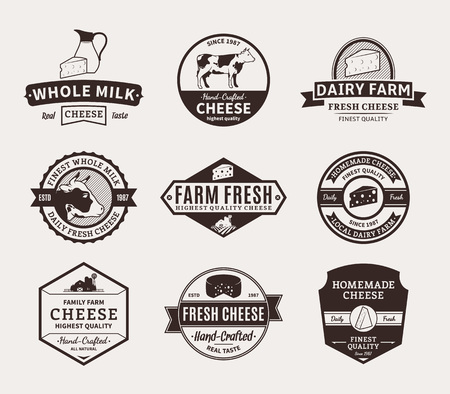 Set of cheese logo templates. Cheese labels with sample text. Cheese and milk icons for groceries, agriculture stores, packaging and advertising. Vector logotype design.