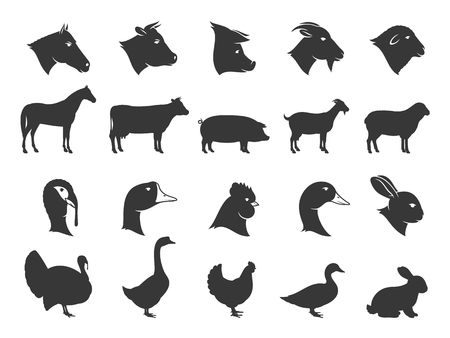 Vector farm animals silhouettes isolated on white. Livestock and poultry icons collection for groceries, meat stores, packaging and advertising. Vettoriali
