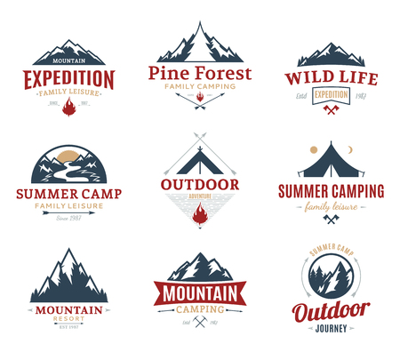 Set of camping and outdoor activity logos. Tourism, hiking and camping labels. Camping and travel icons for tourism organizations, outdoor ivents and camping leisure.