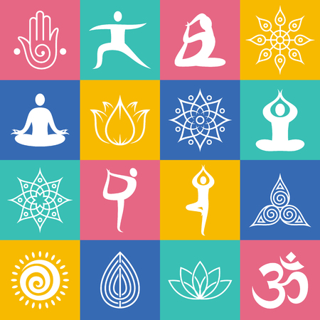 Set of yoga poses, symbols and design elements. Yoga icons for yoga, meditation and relaxation studios.