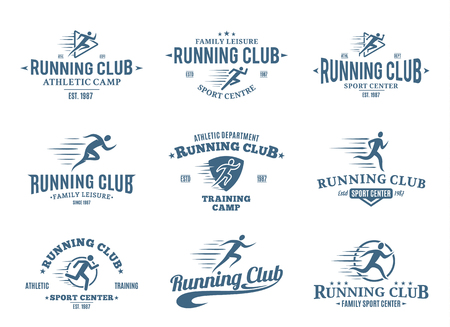Set of running club logo templates. Running club labels with sample text. Running icons for sport tournaments, organizations and marathons. Vector logotype design.