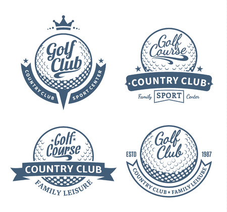 Set of golf country club logo templates. Golf labels with sample text. Golf icons for golf tournaments, organizations and golf country clubs. Vector logotype design. Vectores