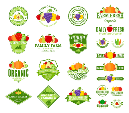 Set of fruit and vegetables logo. Fruit and vegetables labels with sample text. Fruits and vegetables icons for groceries, agriculture stores, packaging and advertising. Vector logotype design.