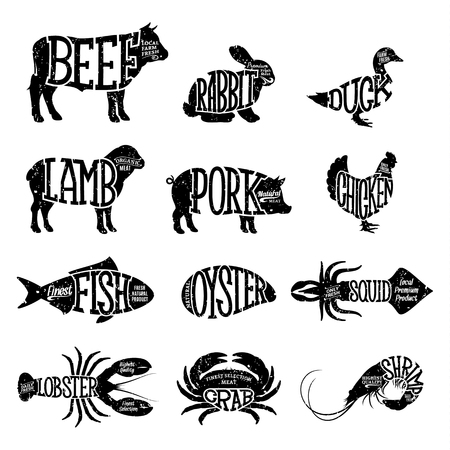 Set of butchery and seafood logo. Farm animals and seafood with sample text. Retro styled farm animals and seafood silhouettes collection for groceries, meat stores, seafood shop and advertising. Vector logotype design. Illustration