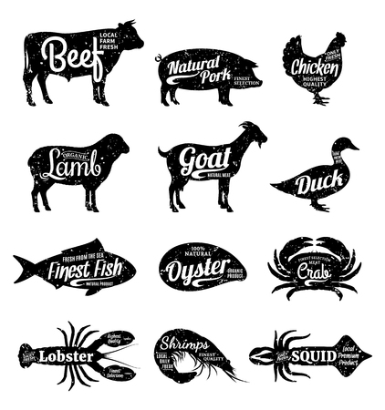 Set of butchery and seafood logo. Farm animals and seafood with sample text. Retro styled farm animals and seafood silhouettes collection for groceries, meat stores, seafood shop and advertising. Vector logotype design.  イラスト・ベクター素材