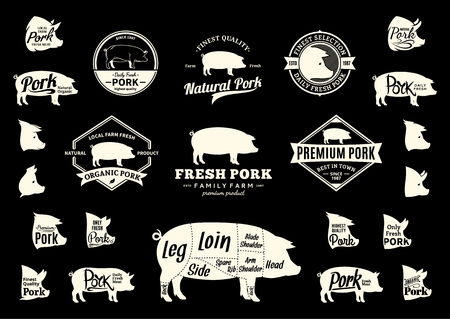 Set of pork logo. Butchery labels with sample text. Pork design elements, pig icons and silhouettes for groceries, meat stores, packaging and advertising. Pork cuts diagram Vettoriali