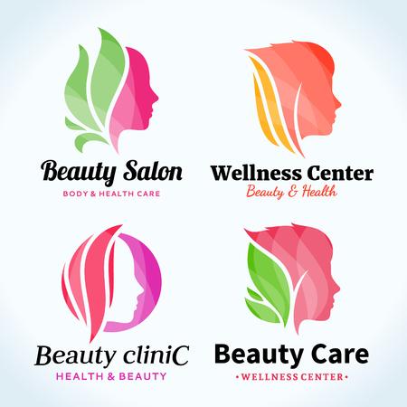 Set of beauty salon logo. Beauty salon or hair salon branding identity. Beauty female face icons for beauty clinic, cosmetics or spa. Cosmetic salon logo design