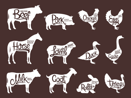 Set of butchery logo. Farm animals with sample text. Retro styled farm animals silhouettes collection for groceries, meat stores, packaging and advertising. Vector logotype design.