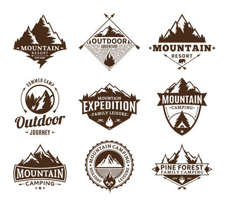 Set of camping and outdoor activity logo. Tourism, hiking and camping labels. Camping and travel icons for tourism organizations, outdoor events and camping leisure.