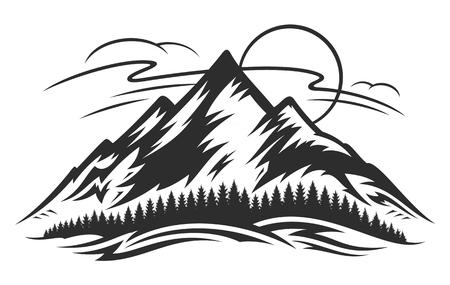 Vector mountain landscape icon Illustration