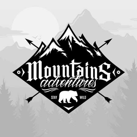 Vector mountain and outdoor adventures logo