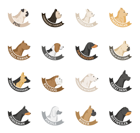 Dog breeds icons collection isolated on white.