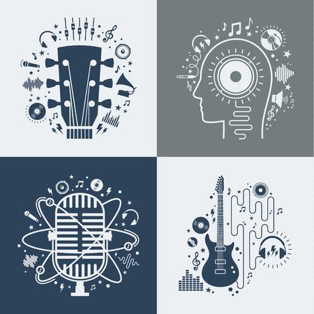 Set of vector music illustrations.