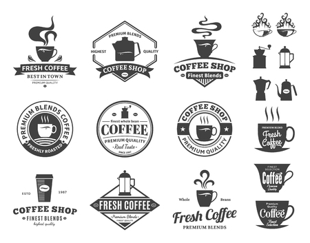 Set of coffee shop logo. Mugs, beans and coffee equipment icons for coffeehouse, espresso bar, restaurant, cafe, packaging and advertising.
