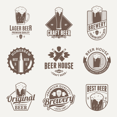 Set of vector brown beer logo, icons and design elements on beige background for beer house, bar, pub, brewing company branding and identity. Illustration