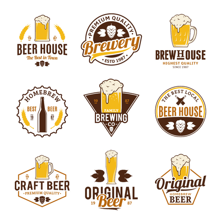 Set of vector color beer logo, icons and design elements on white background for beer house, bar, pub, brewing company branding and identity.
