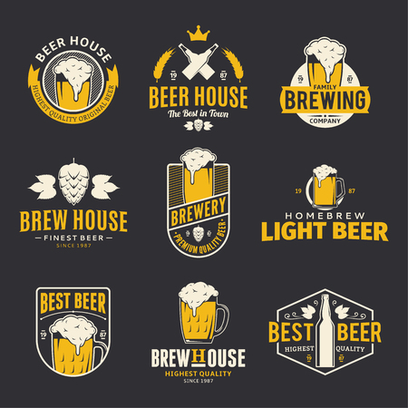 Set of vector colored beer logo, icons and design elements Illustration