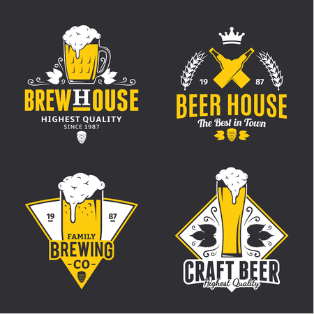 Set of vector white and yellow vintage beer logo, icons and design elements isolated on black background for beer house, bar, pub, brewing company branding and identity.