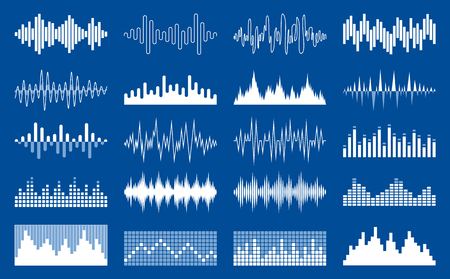 Set of vector white sound waves, equalizer and musical pulse icons Ilustração